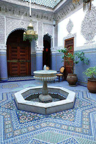 Moroccan Riad decorred with Zellige